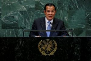 Cambodia's Prime Minister Hun Sen addresses the 73rd session of the United Nations General Assembly at UN headquarters in New York, the United States, 28 September 2018 (Photo: Reuters/Eduardo Munoz).